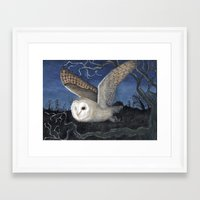 Framed Art Print featuring Barn Owl at Night by Heather Bechler