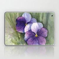 Purple Pansies Watercolor | Flower Painting | Violet Floral Art Laptop & iPad Skin