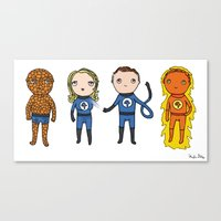 Super Cute Heroes: Fantastic Four Canvas Print