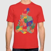 Floral Chaos Mens Fitted Tee Red SMALL