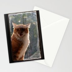Ginger Cat waiting by the window (CW003) miaouuuuuu Stationery Cards