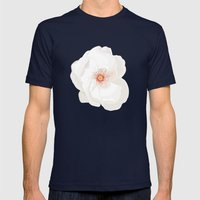 White Flowers Mens Fitted Tee Navy SMALL
