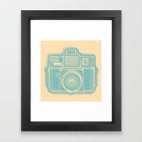 I Still Shoot Film Holga Logo - Reversed Turquoise/Tan Framed Art Print