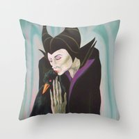 Sorceress With Raven Throw Pillow