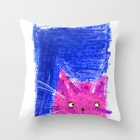 Crayon Cat Throw Pillow