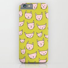Pink Cats on Green iPhone 6 Slim Case
