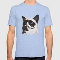 Cat That's Grumpy Mens Fitted Tee Tri-Blue SMALL