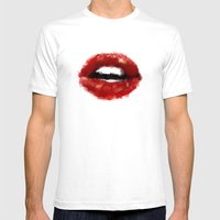 Red lips Mens Fitted Tee White SMALL