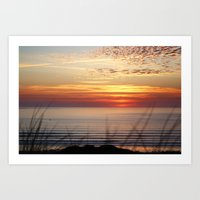 Sunset Surf Gwithian Bay Art Print