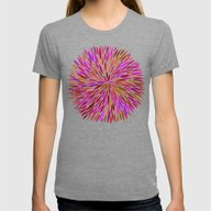 Pink Watercolor Burst Womens Fitted Tee Tri-Grey SMALL