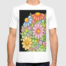 Colorful Orb on Black Mens Fitted Tee White SMALL