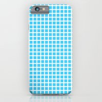 iPhone Cases featuring White On Blue Grid - Pattern by Moonshine Paradise