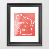 Midwest Is Best In Badge… Framed Art Print