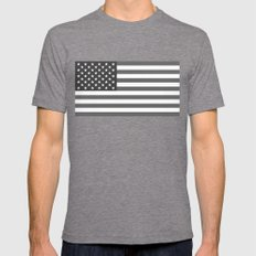 United states national flag  in Black and White  Mens Fitted Tee Tri-Grey SMALL