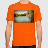 Secluded waterway with boats hidden behind greener Mens Fitted Tee Orange SMALL