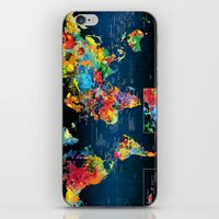 World Map Black Background 2 iPhone & iPod Skin