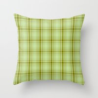 Plaid Green On Green Throw Pillow