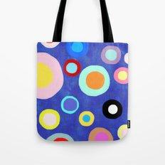 Marine Blue Watercolour Happy Circles Tote Bag