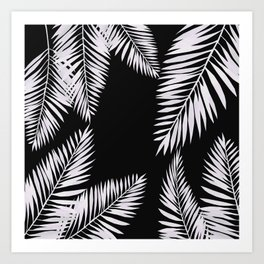 Art Print - Watercolor tropical palm leaves black - LaVieClaire