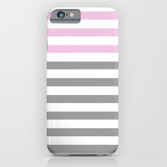 GRAY & PINK STRIPES iPhone & iPod Case