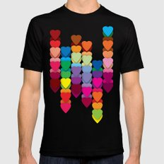 Colored Hearts SMALL Black Mens Fitted Tee