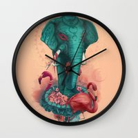 Elephant On The Mat Wall Clock