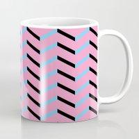 Blue and Black Chevron on Hot Pink Mug