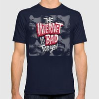 The Internet is Bad for You Mens Fitted Tee Navy SMALL
