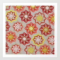 Multi Red Flowers Art Print