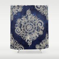 Cream Floral Moroccan Pattern on Deep Indigo Ink Shower Curtain