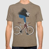 Hipster Lion and his Bicycle Mens Fitted Tee Tri-Coffee SMALL