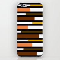 Brown, green, yellow & pink stripes iPhone & iPod Skin