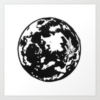 Full Moon Black And Whit… Art Print
