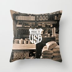 Brown White Made In USA Vintage Photography Print Throw Pillow