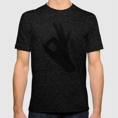 A-Okay Mens Fitted Tee Tri-Black SMALL