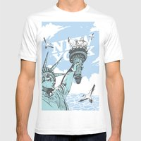 New York Mens Fitted Tee White SMALL