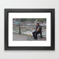 Parisian Busker Framed Art Print