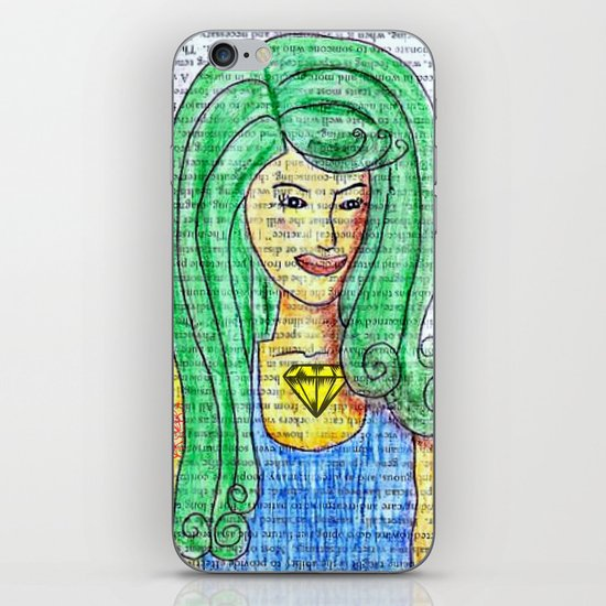 Green Hair Girl iPhone & iPod Skin