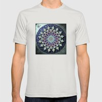 Mosaic Mandala in Blue Mens Fitted Tee Silver SMALL