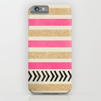 iPhone Cases featuring PINK AND GOLD STRIPES AND ARROWS by Allyson Johnson