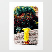 Yellow Fire Hydrant Comi… Art Print