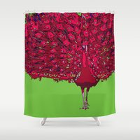 Peacock - red Shower Curtain