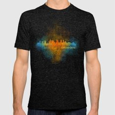 Columbus Ohio, City Skyline, watercolor  Cityscape Hq v4 Mens Fitted Tee Tri-Black SMALL