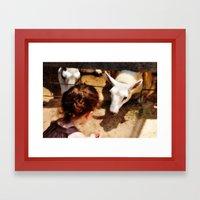 Girl Feeds Sheep Framed Art Print