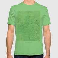 El Paso Map Blue Vintage Mens Fitted Tee Grass SMALL