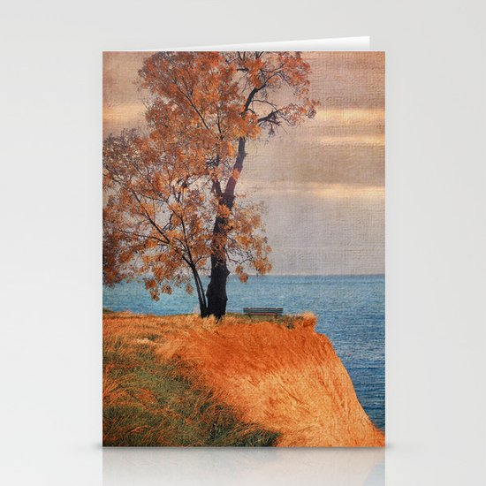 Autumn by the sea Stationery Card