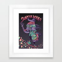 Surfer Wolves Framed Art Print