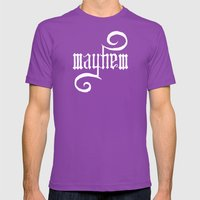 Unleash MAYHEM (Black) Mens Fitted Tee Ultraviolet SMALL