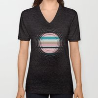 Pastel + Black Stripes Unisex V-Neck