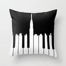 Piano city Throw Pillow